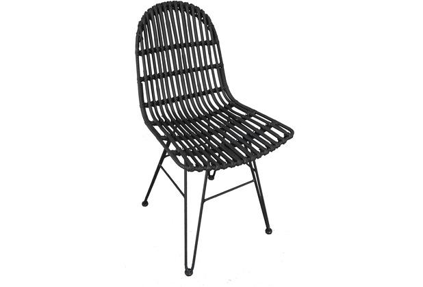 SIT RATTAN Stuhl schwarz, ohne Armlehne