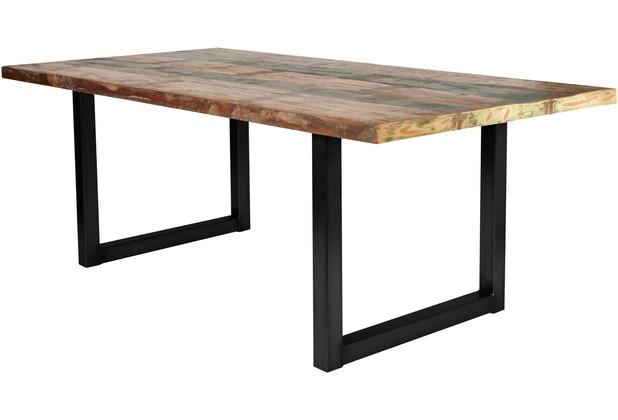 SIT Möbel TISCHE Tisch 240x100 Cm, Buntes Altholz Platte Bunt Lackiert,  Gestell Antikschwarz