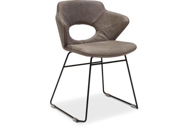 TINGO LIVING SIMON Armlehnstuhl, 59x5481 cm, Nubukleder taupe, Baseball Naht, schwarze runde Beine