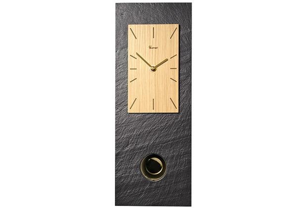 Vaerst Wanduhr Quarz Pendel Eiche 37×14 Naturschiefer  -> Wanduhren Holz Pendel
