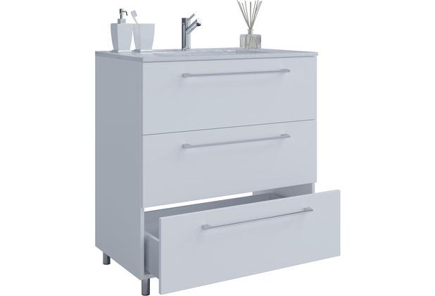 Waschplatz Silvanus 600 Waschtisch Waschbecken mit Unterschrank weiß matt