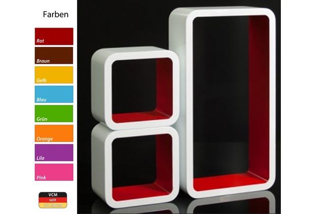vcm 3 tlg regal cube wand h ngeregal retro stand m bel. Black Bedroom Furniture Sets. Home Design Ideas