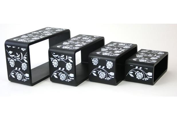 vcm 4 tlg regal cube standregal retro m bel schwarz. Black Bedroom Furniture Sets. Home Design Ideas
