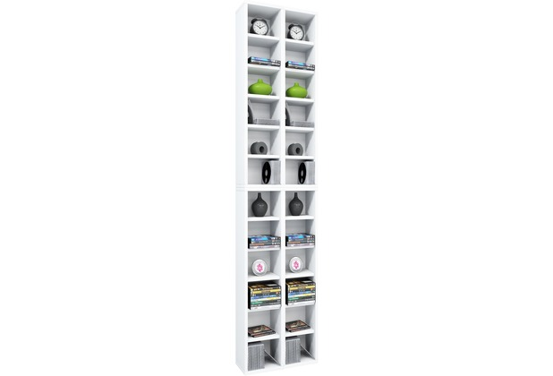 vcm regal dvd cd rack m bel aufbewahrung holzregal standregal m bel anbauprogramm almera weiss. Black Bedroom Furniture Sets. Home Design Ideas