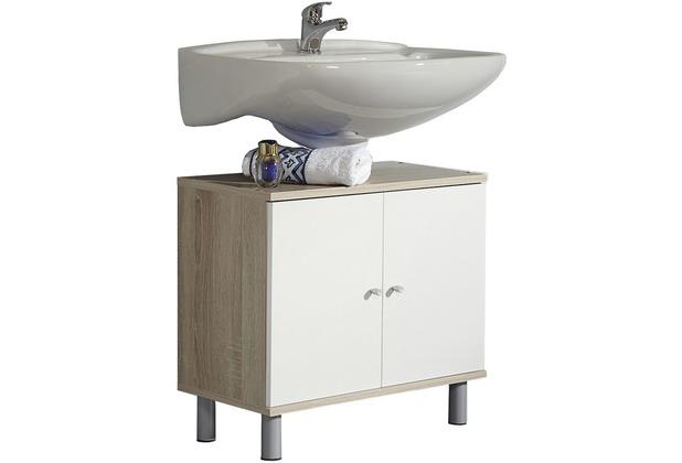 VCM Bad Unterschrank Waschtisch Waschbecken Badschrank Regal Wascho  Eiche-Sägerau 55 x 60 x 32 cm Badezimmer