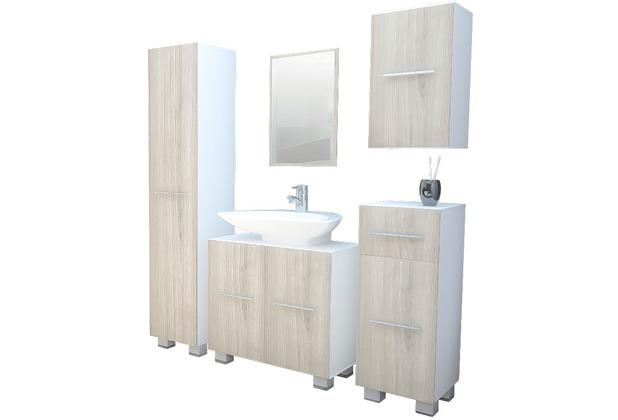 vcm badm bel komplett set 5tlg carlos standf e wei eiche s gerau badezimmer schrank 3x. Black Bedroom Furniture Sets. Home Design Ideas