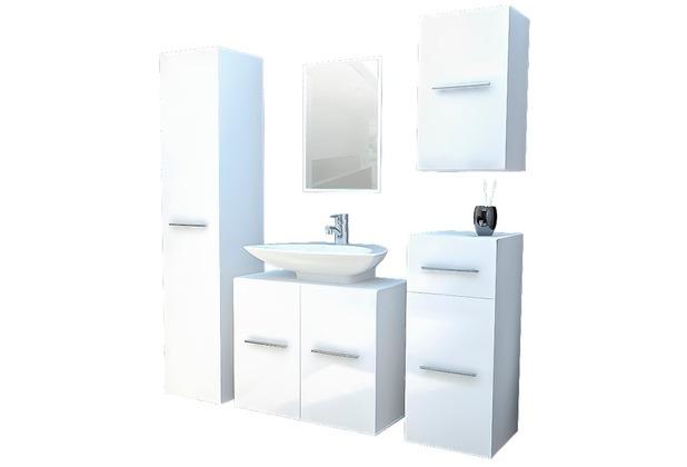 vcm badm bel komplett set 5tlg carlos wand wei badezimmer bad schrank regal badset 3x schrank. Black Bedroom Furniture Sets. Home Design Ideas