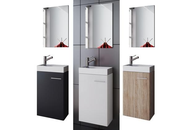 VCM Waschplatz Waschbecken Schrank + Spiegel WC Gäste Toilette Badmöbel  klein schmal \