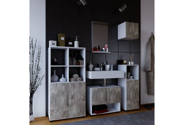 vcm badm bel set 2x badschrank unterschrank spiegel h ngeschrank hebola ll badset 5 tlg. Black Bedroom Furniture Sets. Home Design Ideas
