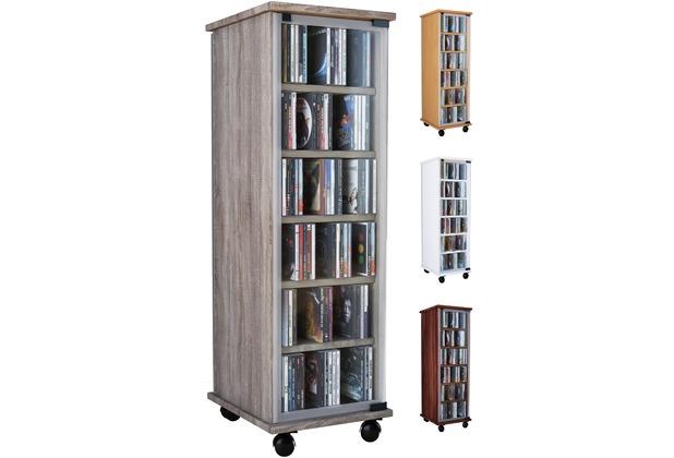 vcm cd dvd regal tower vitrine schrank mit rollen drehbar farbwahl valenza sonoma eiche. Black Bedroom Furniture Sets. Home Design Ideas