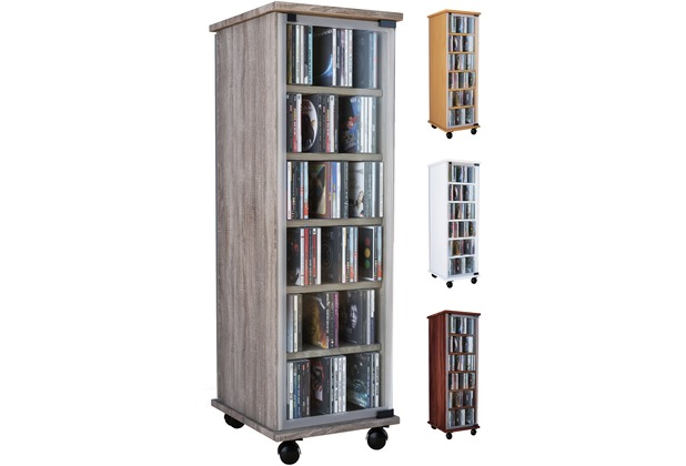 vcm cd dvd regal tower vitrine schrank mit rollen drehbar farbwahl valenza wei. Black Bedroom Furniture Sets. Home Design Ideas