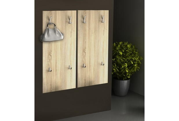 Design Garderobe Mdf Holz Chinese Door ~   Sondas 2  Wandgarderobe Garderobe Wandpaneel Sonoma Eiche  Hertie de