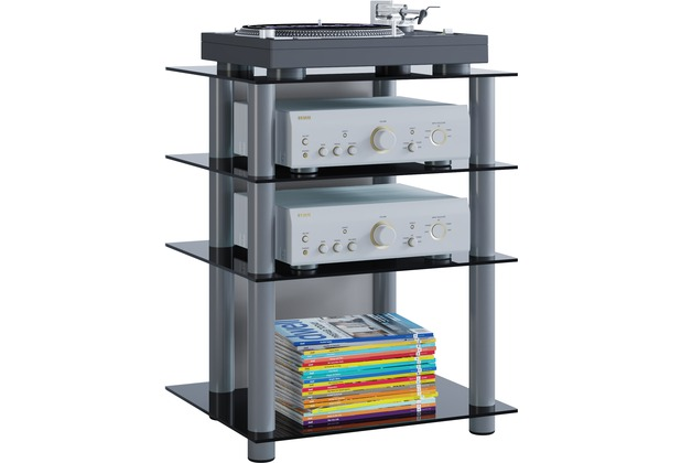 vcm hifi m bel rack phono turm medienrack medienm bel regal tisch alu glas bilus schwarzglas. Black Bedroom Furniture Sets. Home Design Ideas
