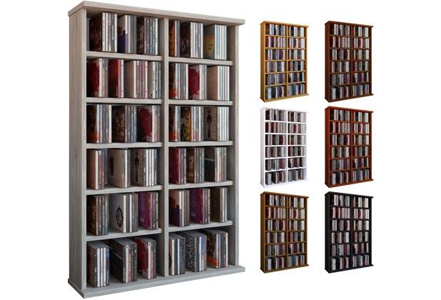 vcm regal dvd cd rack medienregal medienschrank aufbewahrung holzregal standregal m bel bluray. Black Bedroom Furniture Sets. Home Design Ideas