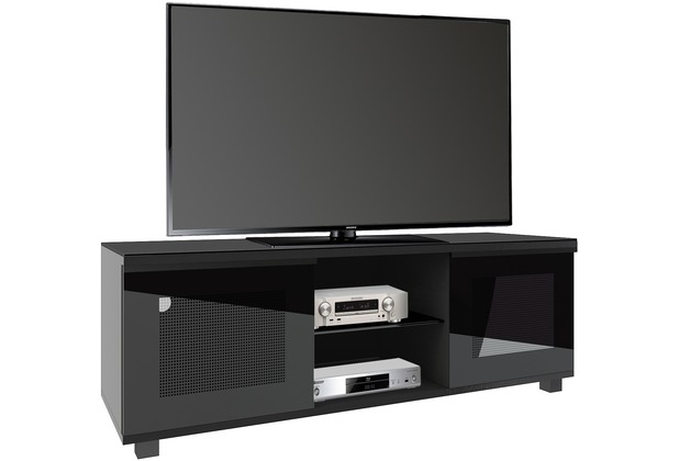 vcm aufgebautes tv lowboard rack fernsehschrank tisch holz tv m bel schrank luxala schwarzlack. Black Bedroom Furniture Sets. Home Design Ideas