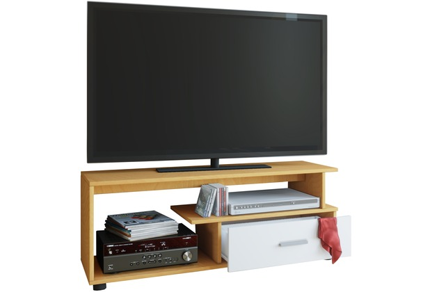 vcm tv lowboard rack konsole fernsehtisch m bel tv bank tisch holz schrank rimini buche wei. Black Bedroom Furniture Sets. Home Design Ideas