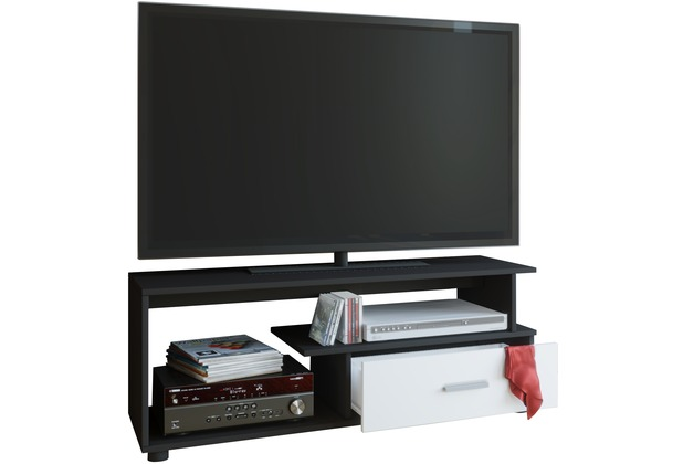 vcm tv lowboard rack konsole fernsehtisch m bel tv bank tisch holz schrank rimini schwarz. Black Bedroom Furniture Sets. Home Design Ideas