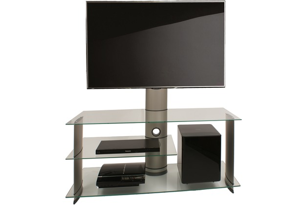VCM TVMöbel Bulmo Silber mit TVHalter  LCD Rack, LED