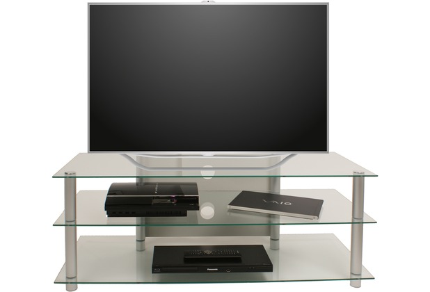 vcm tv m bel lotasa big lcd rack led tisch alu glas klarglas. Black Bedroom Furniture Sets. Home Design Ideas