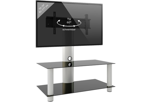 VCM TV-Rack Lowboard Konsole Fernsehtisch TV Möbel Glastisch Tisch mobil  fahrbar Rollen Schrank Bank \