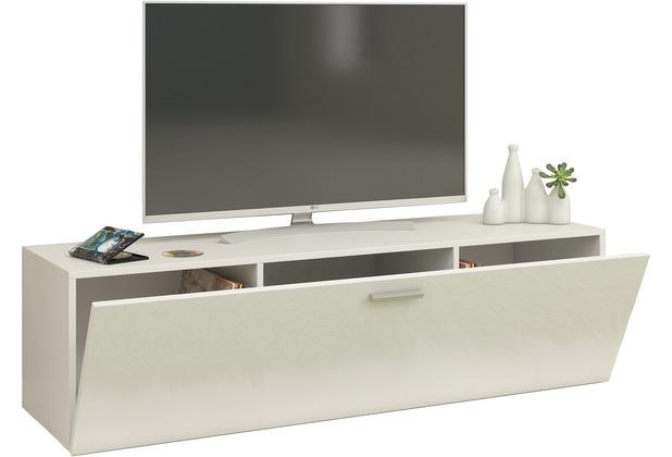 Vcm Tv Wand Board Fernsehtisch Lowboard Wohnwand Regal Wandschrank Schrank Tisch Hangend Fernso B 115cm Weiss Schwarz