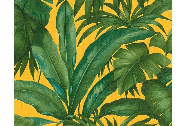 tapete wohnzimmer grün:Versace florale Mustertapete Giungla, Tapete, gelb, grün
