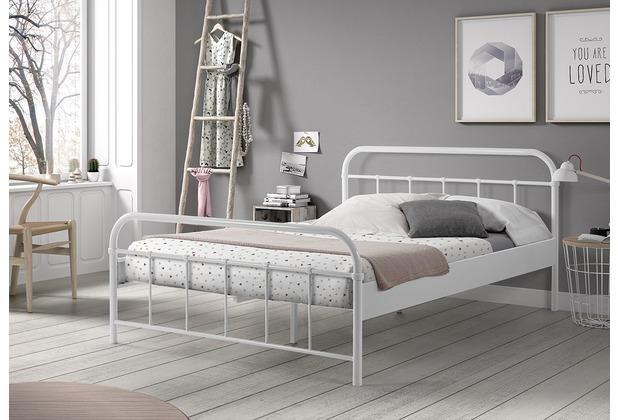 vipack metallbett boston liegefl che 140 x 200 cm wei. Black Bedroom Furniture Sets. Home Design Ideas