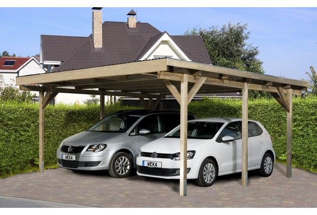 seitenwand weka carport leimholz flachdach satteldach weka flachdachdoppelcarport 616 hertiede. Black Bedroom Furniture Sets. Home Design Ideas