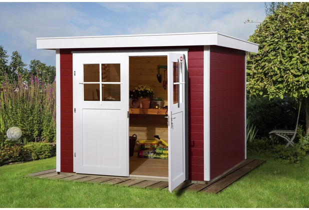weka gartenhaus 227 gr 2 schwedenrot 21 mm. Black Bedroom Furniture Sets. Home Design Ideas
