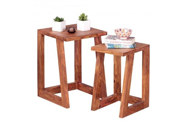 GroBartig Wohnling 2er Set Beistelltisch Massivholz Sheesham Design Wohnzimmer Tisch  Eckig Nachttisch Satztisch Landhaus Stil