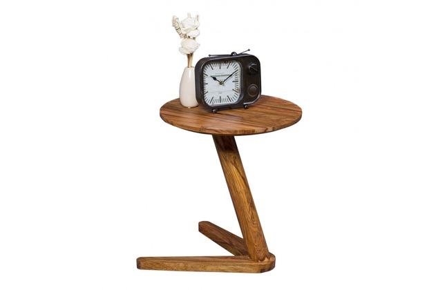Wohnling Beistelltisch Massivholz Sheesham Design Wohnzimmer Tisch 45 X  45cm Rund Nachttisch Natur Holz