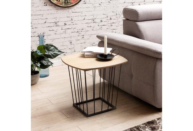 Wohnling Beistelltisch SKANDI Retro Design MDF-Holz Eiche 50 x 45 x 50 cm,  Wohnzimmertisch mit Metall-Gestell, Ablagetisch Anstelltisch flach