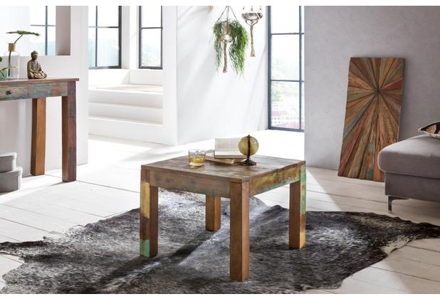 wohnling couchtisch delhi 60 x 60 cm recycling vintage massiv holz wohnzimmertisch design beistelltisch - Vintage Wohnzimmertisch