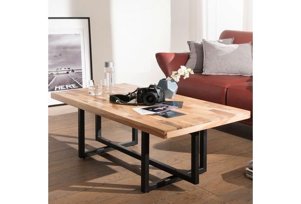 Wohnling Couchtisch KANAM 115x42x60 cm Massivholz / Metall Sofatisch,  Design Wohnzimmertisch Akazie / Mango, Stubentisch Industrial Braun,  Designer ...