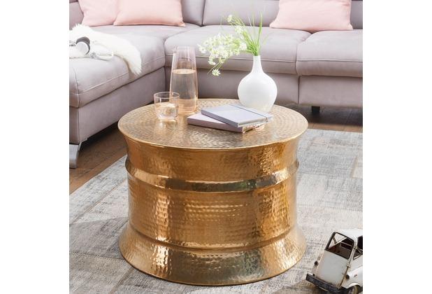 Wohnling Couchtisch Karam 62x41x62cm Aluminium Gold Beistelltisch