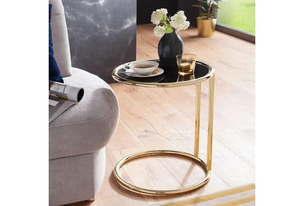 Wohnling Design Beistelltisch LEONA Ø 45 cm Couchtisch Rund Schwarz/Matt  Gold, Designer Glas-Wohnzimmertisch modern, Glastisch mit Metallgestell, ...
