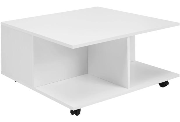 Wohnling Design Couchtisch 70x70 cm Weiß | Wohnzimmertisch mit 2 Schubladen  | Sofatisch mit Rollen | Tisch mit 2 Fächern