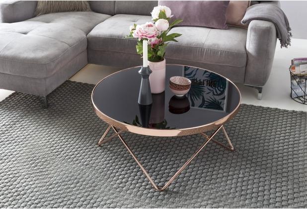 Wohnling Design Couchtisch Glasplatte Schwarz / Gestell Kupfer ø 82 Cm,  Wohnzimmertisch Verspiegelt Sofatisch Modern