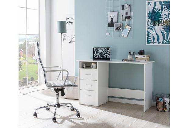 Wohnling Design Schreibtisch WL5.755 Weiß Matt 123 x 77 x 50 cm mit Ablage  Regal, Arbeitstisch mit Aufbewahrung Modern, Weißer Computer-Tisch Groß mit  ...