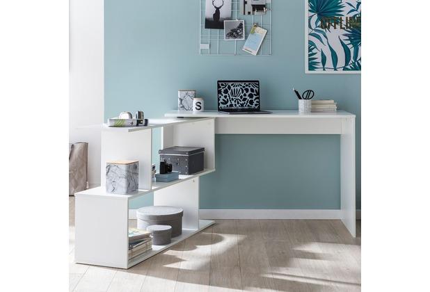 Wohnling Design Schreibtisch WL5.756 Weiß Matt 119 x 78 x 49 cm mit Ablage  Regal, Eckschreibtisch mit Aufbewahrung Drehbar Modern, Weißer ...
