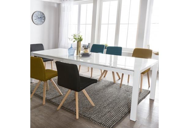 Wohnling Esszimmertisch GLORY 160 X 76 X 90 Cm Ausziehbar Hochglanz Weiß  Metall Holz, Küchentisch