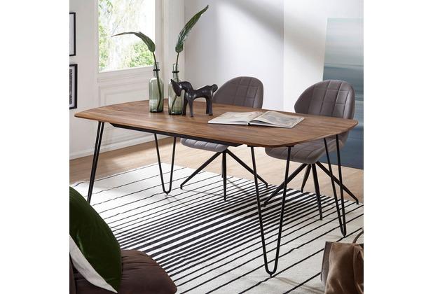 Tisch Mit Metallbeinen wohnling esszimmertisch kela 180x90x76 cm sheesham massivholz