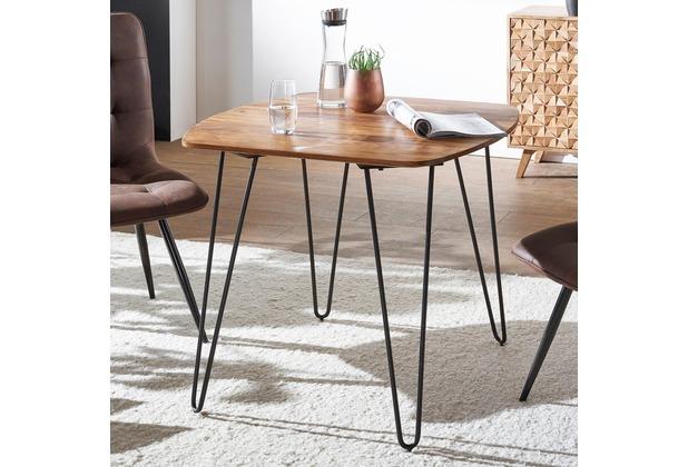 Tisch Mit Metallbeinen wohnling esszimmertisch kela 80x80x76 cm sheesham massivholz