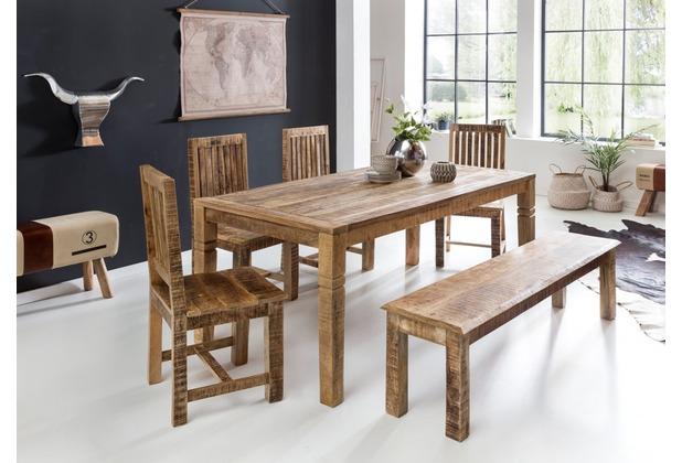 Wohnling Esszimmertisch Rustica 120 x 70 x 76 cm Mango Massiv-Holz | Design  Landhaus Esstisch Massiv | Tisch für Esszimmer rechteckig | Küchentisch 4  ...