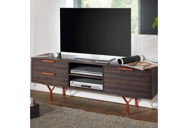Wohnling Hifi Lowboard Dewas Akazie Massivholz Industrial Tv Kommode
