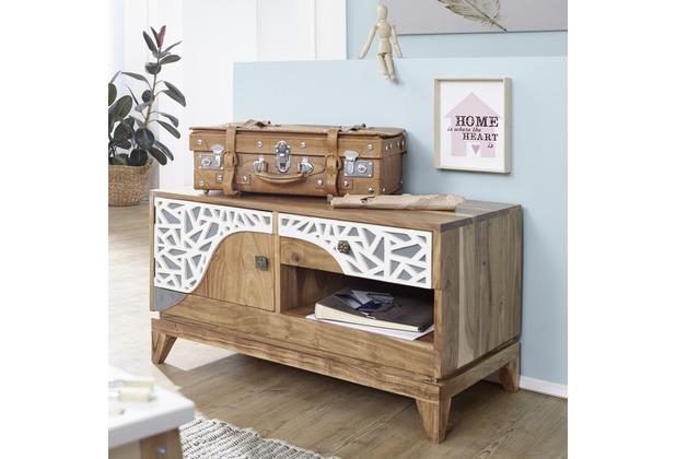 wohnling lowboard anju 90x50x45 cm akazie massivholz tv bank landhausstil design tv board. Black Bedroom Furniture Sets. Home Design Ideas