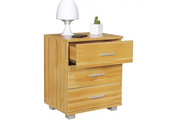Wohnling Nachtkonsole NINA Holz Nachttisch Modern Mit 3 Schubladen Buche,  Design Nachtkästchen 45 X 54