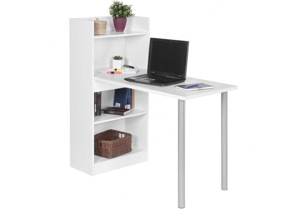 Wohnling PC-Schreibtisch NICO modern mit Regal 121,5 x 120 x 70 cm  Spanplatte | Computertisch platzsparend | Laptoptisch holz weiß matt