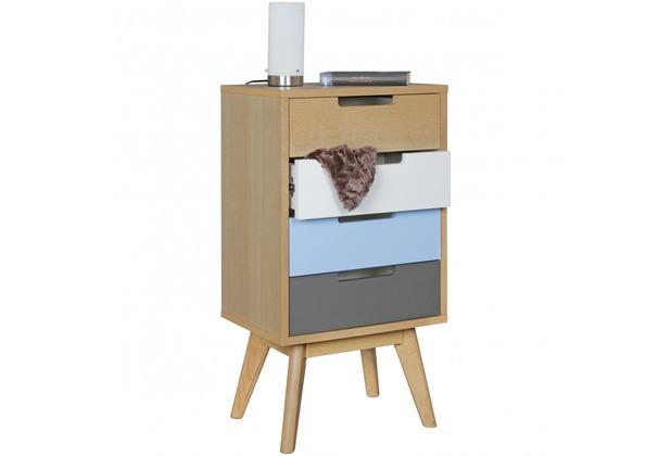 Wohnling Retro Nachtkonsole SKANDI Holz Nachttisch 4 Schubladen 44 X 83 X  33 Cm Mehrfarbig,