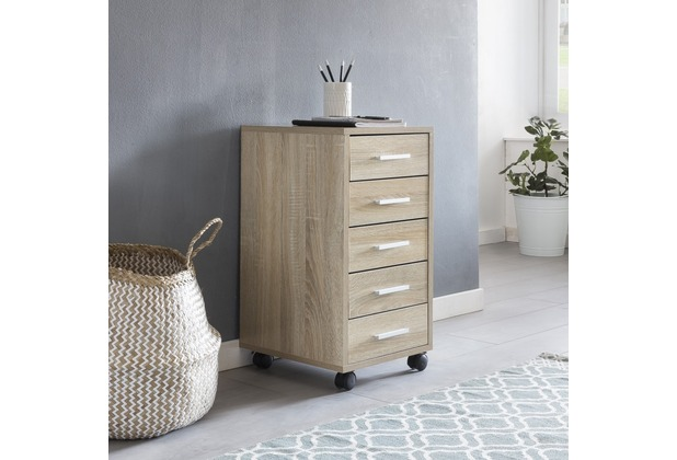 Wohnling Rollcontainer Lisa Sonoma 33 X 63 X 38 Cm Holz